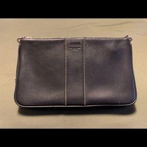 Coach black leather zip pouch